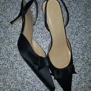 Shoes - J.Crew Satin Black Sling Back Pointy Bow Heels